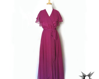 Vintage 1970's Magenta Chiffon Flutter Sleeve Ruffled Wrap Dress Gown Size Medium/Large