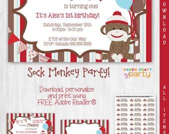 Sock Monkey Invitation Set - Thank You Note -  Address labels DIY Printable
