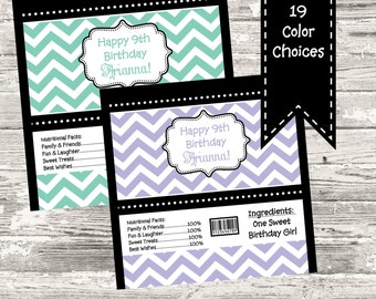 19 Color Choices Chevron Candy Wrapper Printable Digital
