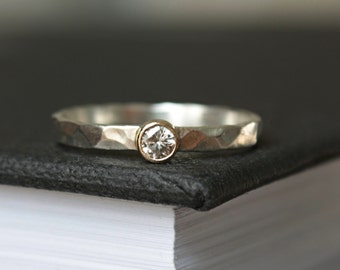 Natural Diamond Stacking Ring //  Mixed Metals Silver and Gold Diamond Ring // Conflict Free Diamond Ring // Engagement Ring // gift for her