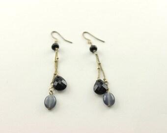 Vintage Pierced Black Bead Dangle Earrings 2 inch length