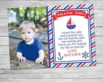 Nautical Birthday Thank You Printable - Nautical Birthday Party Photo Card Thank You