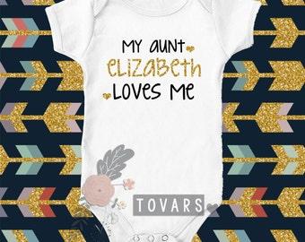 my aunt loves me bodysuit my aunt loves me shirt personalized aunt shirt Niece shirt my aunt loves me T-shirt