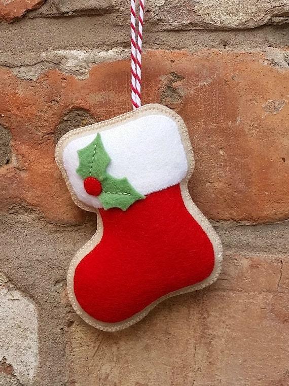 Handmade Felt Christmas Stocking Ornament By Tillyshangout