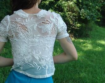 SALE 50s S White Lace Short Top - Vintage