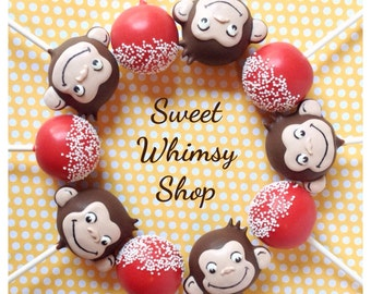 12 Monkey Cake Pops for first birthday, baby shower, nursery, children's book, party favor, Red & Yellow, teacher gift