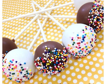 12 Rainbow Nonpareil Sprinkle Topped Cake Pops in White or Milk Chocolate for Candy Land, Willie Wonka, Gum Ball, birthday, Gymboree, buffet