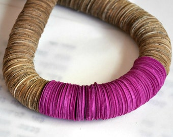 Purple paper necklace,  Statement necklace, Nacklace made of book paper