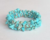 Turquoise Semi Precious Stones Bracelet, 3 Strands Memory Wire Bracelet B32A