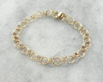 Classic Triple Link Charm Bracelet in Yellow Gold V51X5X-D