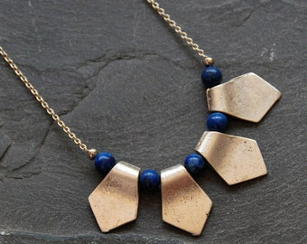 African Necklace, Tribal Necklace, Long Necklace, Lapis Necklace, Geometric Necklace, Bohemian Jewelry, Blue African Necklace, 1095-lapis