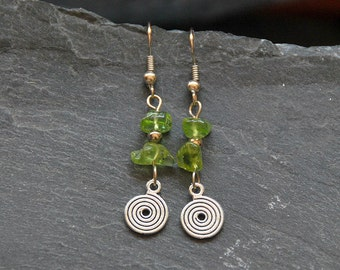 Peridot earrings, Ethnic earrings, August birthstone, Birthday gift, Silver earrings, Peridot jewelry, Natural gemstone earrings, 1105-8