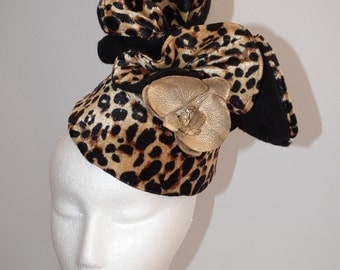 LEOPARD FEZ new latest designer animal soft velvet black felt autumn winter racing headpiece hat fez style gold phalenopsis orchid handmand