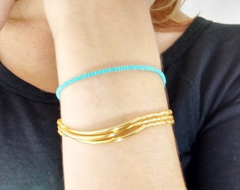 Turquoise bracelet, aqua bracelet, lobster clasp bracelet, seed bead bracelets, beaded bracelet, silver bracelet, minimalist, modern
