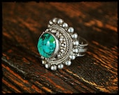 Tibetan Turquoise Saddle Ring - 7.5