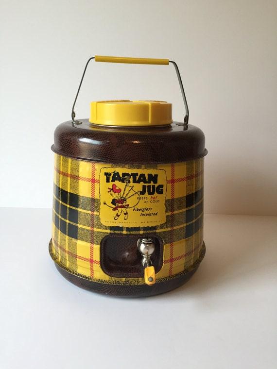 Vintage Tartan Jug Picnic Gallon Jug Tartan Plaid Cooler