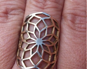 Flower of life ring in solid bronze - sacred geometry - star of life ring - decagon