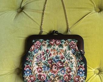 Vintage Needlepoint Tapestry Bag Clutch Carpet Bag Embroidered Floral Handbag Faux Bakelite Tortoise Shell Purse 1950s 60s Victorian Revival