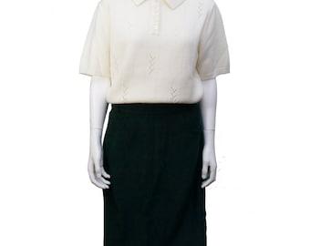Vintage Woolen Cream Knit T-Shirt/Polo