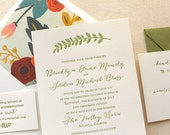 The Summer Garden Suite - Modern Letterpress Wedding Invitation Suite, Mint, Calligraphy, Script, Romantic, Green, Leaf, Floral, Rifle Paper