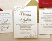 The Casablanca Suite - Classic Letterpress Wedding Invitation Suite Gold ink, Red, White, Modern, Calligraphy, Script, Swirls