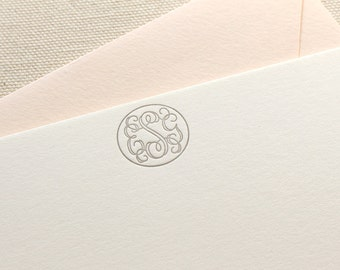 Letterpress Monogram Circle Personalized Stationery, Set of 25, note card, thank you, wedding gift, bridesmaid, gift, coworker, script S118