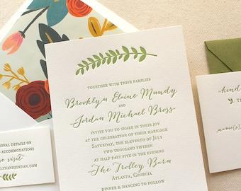 The Summer Garden Suite - Modern Letterpress Wedding Invitation Suite, Mint, Calligraphy, Script, Romantic, Green, Leaf, Floral, Rifle Paper