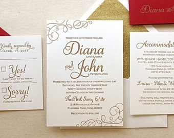 The Casablanca Suite - Sample Classic Letterpress Wedding Invitation Suite Gold ink, Red, White, Modern, Calligraphy, Script, Swirls