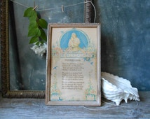 Vintage Framed Motto Verse Mother and Child Poetry: Marygold Art Print Mother Love Motto Poem, 1920s Art Deco Home Decor, Shabby Cottage
