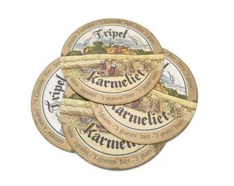 Belgian Beer Coasters . Tripel Karmeliet . Vintage Cardboard Beer Mat . Barware . Set of 4 .