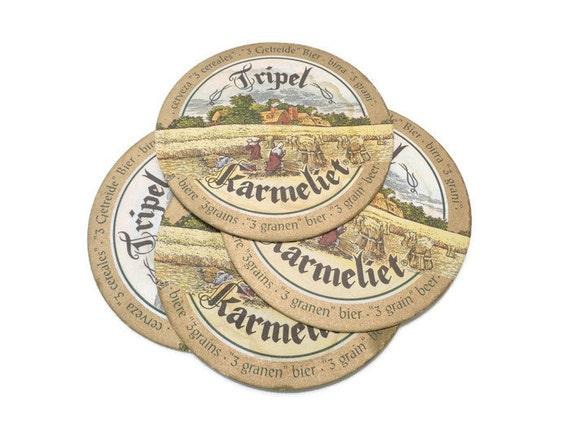Belgian beer coasters tripel karmeliet vintage cardboard - Cardboard beer coasters ...