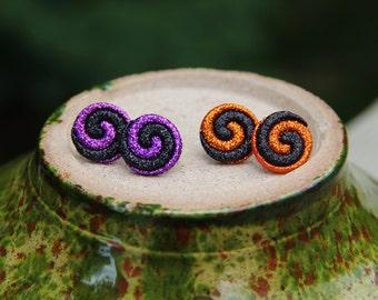 Large Halloween Purple or Orange Swirl Stud Earrings!