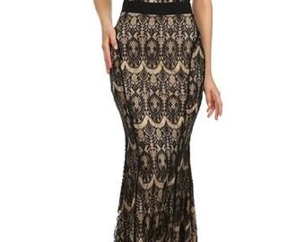 Black Lace Summer Dress Women's Dress Mermaid Dress Maxi Dress Cocktail Dress Gift for Her