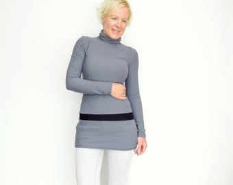 Gray Turtleneck, Gray Tunic Top, Extra Long Sweater, Mock Neck, Turleneck Sweater, Bodycon Turtleneck, Mock Neck Sweater