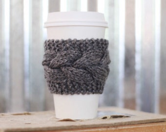 Gray Cable Knit Coffee Cozy w/Wood Button/ Tea Cozy/ Cup Cozy/ Coffee Cover/ Coffee Sleeve/ Latte Cozy