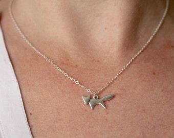 Silver fox necklace, small fox necklace, fine fox necklace, fox charm, gift for women, delicate fox necklace, cute fox necklace, small fox