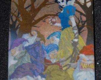Disney Princess Snow White Zombie Undead Goth Creepy Pendant Necklace Magnet Halloween