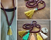 Yoga Mala Necklace - 108 beads Mala Necklace - Yoga Jewelry - Turquoise Tassel Necklace - Yoga Meditation Necklace -  Hippie Tassel