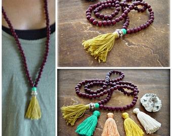 Yoga Mala Necklace - Yoga Tassel Necklace -108 beads Mala Necklace - Yoga Jewelry - Turquoise Tassel Necklace - Hippie Tassel