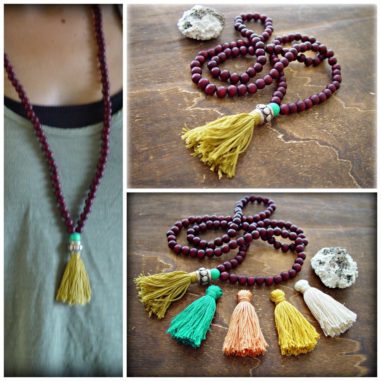 Yoga Beads: Yoga Mala Necklace Yoga Tassel Necklace 108 Beads Mala