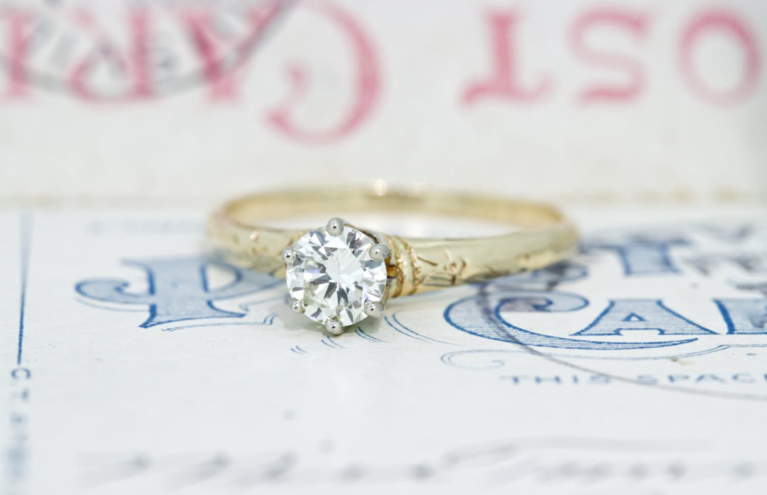 Antique Engagement Ring Simple Diamond by FergusonsFineJewelry