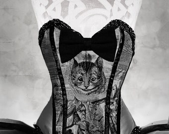 CHESHIRE CAT Tenniel Illustrations Steel Boned Corset Burlesque Made to order Alice in Wonderland