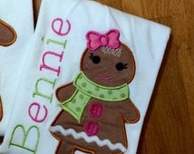Personalized Christmas Gingerbread Girl Shirt, Romper, Dress or Onesie