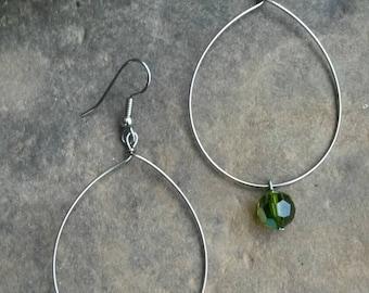 Genuine Swarovski Crystal drop hoop earrings