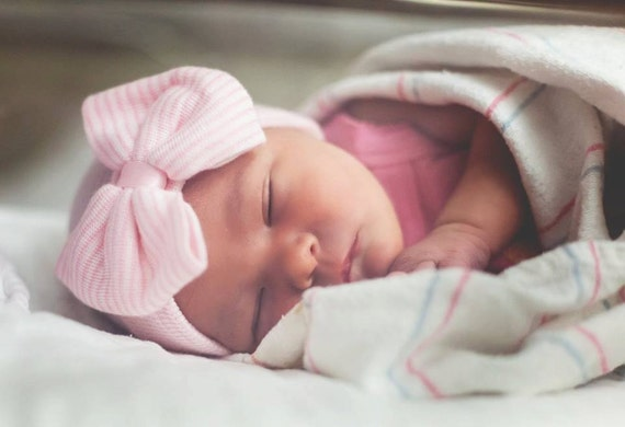 Newborn Hospital Hat Bow Baby Girl Hospital Hat Beanie With