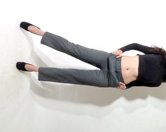 Gray Classic Pants / Minimalist Pants / Elegant Pants / Straight Leg Pants / Low Waist Pants / Boyfriend Pants /  Size S