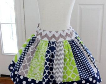 Girls skirt gray lime green navy skirt Seattle Seahawks girl football outfit chevron skirt chevron polka dot quatrefoil houndstooth skirt