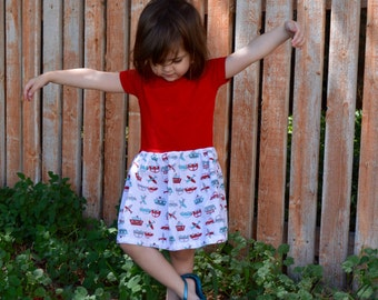 Car Airplane and Boat Drop Waist Play Dress