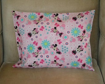 Travel Pillow Case / Child Pillow Case Walt Disney MINNIE MOUSE with Flowers and Butterflies