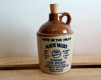Vintage McCormick Platte Valley Pint Straight Corn Whiskey Jug with Cork, Barware, Empty Decanter, 86 Proof, Home Office Bar Decor